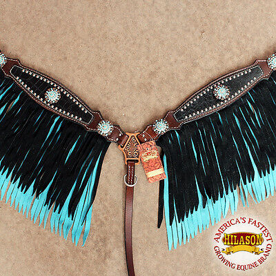 C- Hilason Leather Horse Breast Collar Brown Black Turquoise Fringes Concho