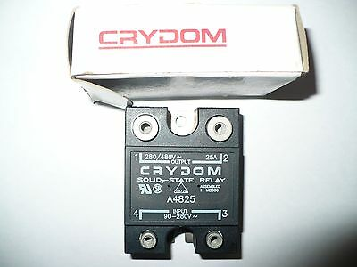 Crydom A4825 Solid State Relay, 25A, 240/480V &90-280V Coil, New
