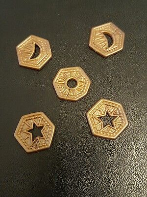 5 x Bronze Knut Coins. Harry Potter Diagon Alley Board Game spares.