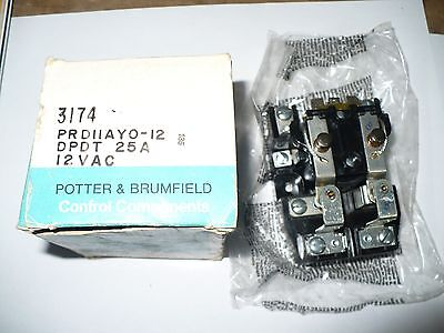 Potter & Brumfield PPD11AYO-12 Relay, 25 Amp, 12 VAC, New