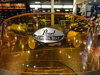 Pearl Crystal Beat Acrylic 6.5x14 Free Floating Snare Drum Shell-Tangerine Glass