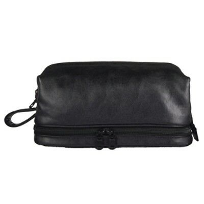 Men's Deluxe Black 2 Compartment Zip Close Leather Toiletry Travel Bag
