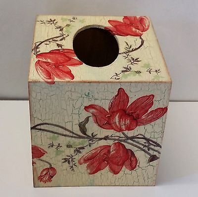 Handmade Decoupage Wood Tissue Box, Vintage, Red Lily
