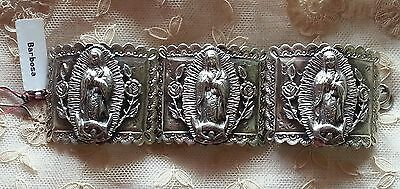 Nwt Barbosa San Miguel Mexico Virgin Guadalupe 3 Panel Segmented Bracelet