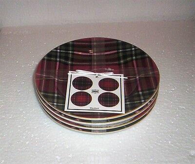 222 Fifth  Wexford Red  Appetizer Canape  Party Plates S/4 New Unused