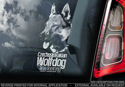 Czechoslovakian Wolfdog - Car Window Sticker - Dog Sign -V06