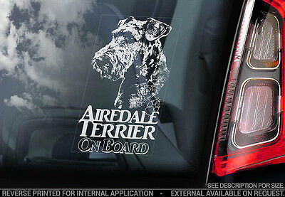 Airedale Terrier - Car Window Sticker - Dog Sign -V03