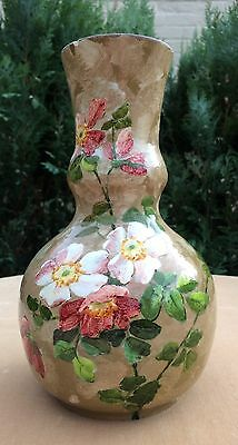Beautiful French Montigny Sur Loing Vase Barbotine Painted Flowers