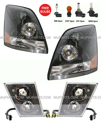 Headlight Black with Dual Double Bulb Fog Lamp  - LH & RH (Fit: Volvo VNL VN VNM