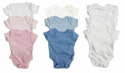 Baby Girl Boy Unisex Pack of 3 Short Sleeved Vests Bodysuits 0-24 m 0-2 yrs