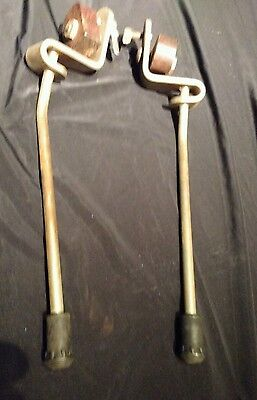 VTG Ludwig Marked Bass Drum Spurs Clamp on Antique Wood Corrosion 1 Wing nut new