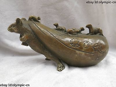 China brass copper Feng Shui lucky Riches and honour Rat Gold bag Statue