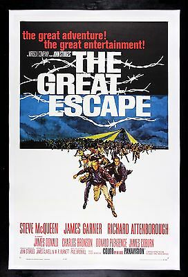 THE GREAT ESCAPE * CineMasterpieces 1963 ORIGINAL MOVIE POSTER STEVE MCQUEEN