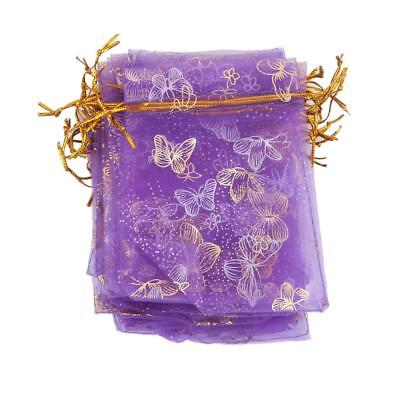 100x Purple Butterfly Organza Wedding Gift Bag Jewelry Candy Pouch 12x9cm