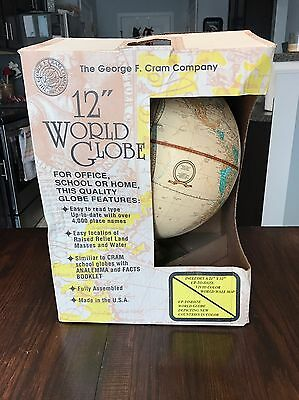 "Vintage Cram's Imperial World Globe 12"" with Metal Base Stand and Inserts NIB"