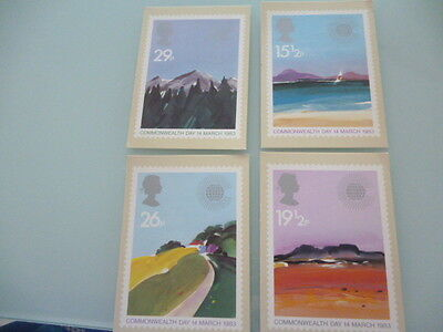 great britain 1983 PHQ Cards series 66 Commonwealth day    mint set x 4