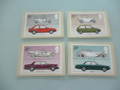 great britain 1982   PHQ Cards series 63  British motor cars  mint set x 4