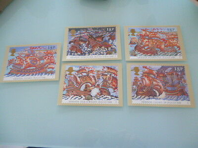 great britain 1988 PHQ cards Series 112 the Amarada  x 5   full  used  set