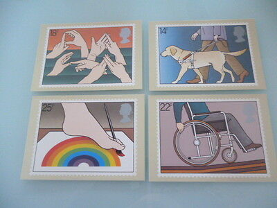 great britain 1981 PHQ Card Series 50 year of the disabled x 4 full mint set