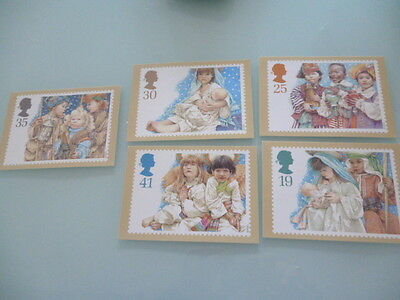 great britain 1994 PHQ cards Series  Christmas   x 5   full mint set
