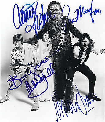 Star Wars 8x10 Autograph Reprint (Mark Hamill/Carrie Fisher/Harrison Ford) MINT