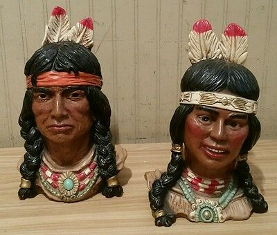 1966 Pair Of Universal Statuary Chalkware Indian Head Bust Statues ~ Man & Woman