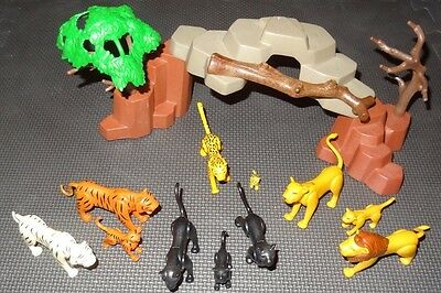 PLAYMOBIL JUNGLE ZOO SET - Lions, White Tiger, Leopard, Panthers and Rocks