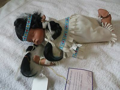 "Goldenvale Porcelian Doll 12""  #1 of only 2,000 made. ""Opal"" Native American"