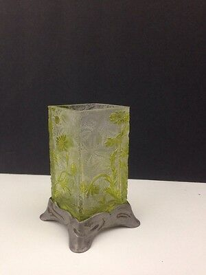 Art Nouveau Art Glass Vase Etched with Pewter Stand Green to Clear Floral
