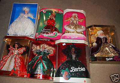 Lot of 7 Barbie HOLIDAY Dolls * Christmas * One Signed by Artist