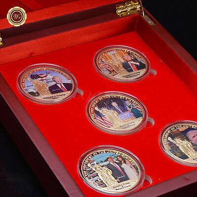 arts and crafts gifts 5PCS Set 2017 US Coin DONALD TRUMP PRESIDENT 24k Gold Coin