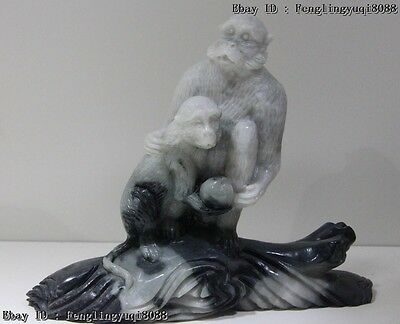 Chinese Art Sculpture Natural Black White Dushan Jade Two Lucky Monkey Statue