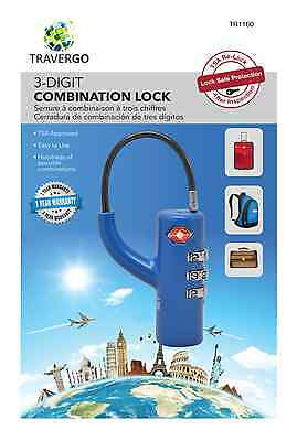 2 X TSA approved blue 3 DIGIT Combination travel lock suitable bags,backpacks
