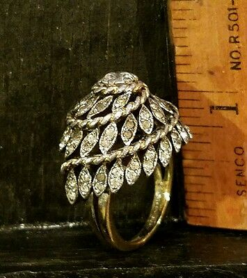 Vtg 1950 Panetta Sterling Silver Shank Tall Domed Rhinestone Cable Cocktail Ring