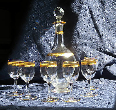 Saint Louis Crystal Carafe/decanter And Glasses