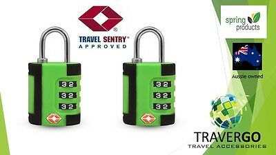 2 X Green Travel Locks TSA Approved locks suitable for backpacks, suitcases