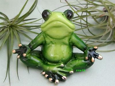 Green Pudgy Yoga Frog  Meditation Whimsical Makes You Smile Resin  Fairy Garden