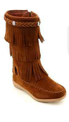 Girls Tan/brown Boots>Moccasins Boots>Fringe>Size 11-12Toddler13-4Youth