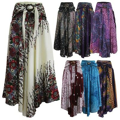 41c79f439 BOHO HIPPIE LONG Peacock Feathers Sequin Block Painted Skirt Party ...