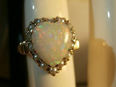 """Vintage Antique 14k Gold Firey OPAL HEART Pearl Ring Signed """"Kimberly"""" Victorian"""