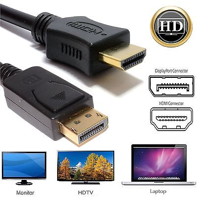 DisplayPort Plug to HDMI Male Plug Display Monitor Laptop Cable 1m 2m 3m 5m Lot
