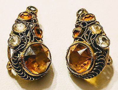 Sterling Silver Amber Art Deco Earrings Vintage 1930's
