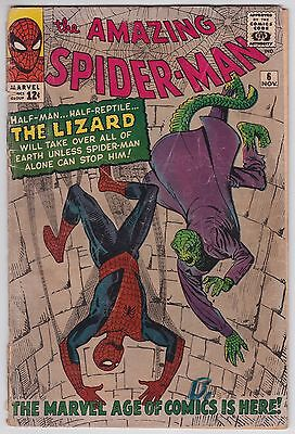 Amazing Spider-Man #6 G 2.0 First Apperance Of The Lizard Steve Ditko Art!