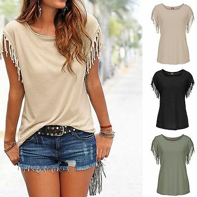 Women Loose Short Sleeve Summer Cotton Casual T-shirt Blouse Tops Shirts Blouse