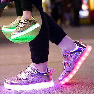 New Boys Girls LED Light Luminous Up USB Charge Sneakers Lace Up Casual Shoes