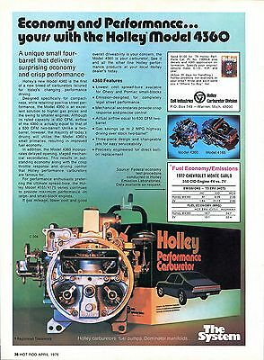1976 Holley Model 4360 & 4165 Chevy Carburetor Economy Performance Print Ad.