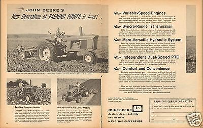 1961 John Deere 4010 2010 & 1010 Farm Tractor 2 Page LARGE Print Ad