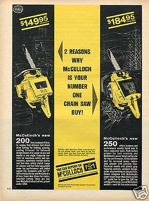 1964 Print Ad of McCulloch 200 & 250 Chain Saw