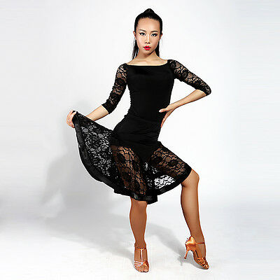 Female Latin training half skirt lace stitching Big Latin dance practice G2004