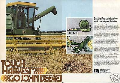 1978 John Deere Combine Farm Tractor 2 Page Print Ad